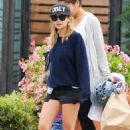 Nicole Richie and Joel Madden with their kids, Harlow and Sparrow, out to breakfast at Coogies Beach Cafe in Malibu, CA (July 4)