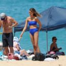April Love Geary in Blue Bikini on holiday in Hawaii
