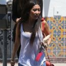 Brenda Song lunches with a friend at Chibo in West Hollywood, California on June 14, 2013