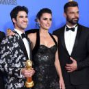 Darren Criss, Penélope Cruz and Ricky Martin At The 76th Annual Golden Globe Awards - Press Room - 432 x 600