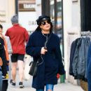 Lea Michele in Blue Coat out in New York City