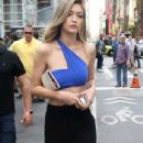Gigi Hadid was seen at a Maybelline photo shoot in New York City, New York on May 12, 2016