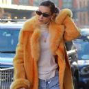 Bella Hadid in Fur Coat – Out in NYC