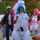 Alessandra Ambrosio – Going trick or treating with the kids dressed as a unicorn in Los Angeles
