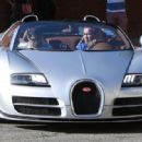 Arnold Schwarzenegger Leaving His Office In His Bugatti