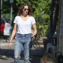 Troian Bellisario – Walking her dog in LA - 454 x 642
