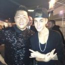 Justin Bieber and Psy backstage at the American Music Awards