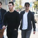 Joe & Kevin Jonas meet some friends for lunch in Los Angeles, California on January 9, 2015 - 454 x 545