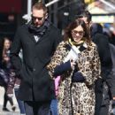 Alexa Chung in Leopard Prin Coat out in New York