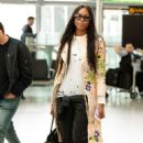 Naomi Campbell at Heathrow Airport in London
