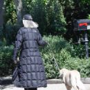 Diane Keaton – Wears a full length The North Face puffy jacket while out walking her dog in Pacific Palisades - 454 x 573