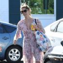 Ashley Greene in Floral Print Dress at Bristol Farms in Los Angeles