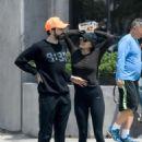 Elizabeth Olsen in Tights with boyfriend Robbie Arnett in Los Angeles - 454 x 607