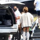 Jennifer Lopez – Wearing mini skirt and knee boots with Alex Rodriguez in Van Nuys