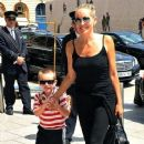Sharon Stone and her youngest son Quinn (b. 2006) arrive at the Ritz Carlton Hotel