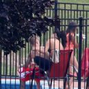 Selena Gomez and  Justin Bieber at a his Pool in Stratford, Canada August 31,2014