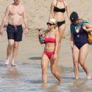 Rita Ora in Red Bikini on the beach in St Barth