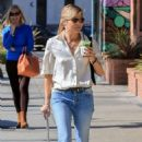 Selma Blair in Jeans at Alfred's coffee in Studio City