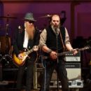 Billy Gibbons of ZZ Top and Steve Earle perform onstage during The Music Of David Byrne & Talking Heads at Carnegie Hall on March 23, 2015 in New York City