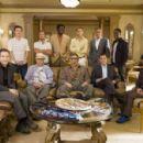 (L-r) EDDIE JEMISON as Livingston Dell, CASEY AFFLECK as Virgil Malloy, CARL REINER as Saul Bloom, SCOTT CAAN as Turk Malloy, BERNIE MAC as Frank Catton, ELLIOTT GOULD as Reuben Tishkoff, BRAD PITT as Rusty Ryan, GEORGE CLOONEY as Danny Ocean, MATT DAMON