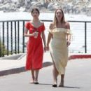 Selena Gomez in Red Long Dress out for a walk in Malibu