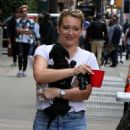 Hilary Duff – Arriving with her puppy to the set of 'Younger' in New York - 454 x 751