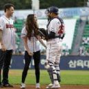 Megan Fox and his husband Bryan Austin Green leave after throw out the first pitch at the LG Twins vs. Doosan Bears as a part of promotion for South Korea premiere of 'Teenage Mutant Ninja Turtles' on August 27, 2014