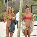 Alessandra Ambrosio in Red Bikini on the beach in Florianopolis