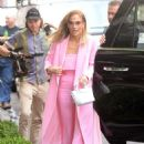 Jennifer Lopez – Wearing all pink business suit out in New York City