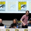 Musician Lars Ulrich, musician Kirk Hammett, actor Dane DeHaan and musician Robert Trujillo speak onstage at