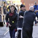 Andrew Garfield and Paul Giamatti on the set of