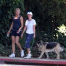 Reese Witherspoon Jogging With Jake Gyllenhaal's Pet German Shepherd In Brentwood, May 16 2008