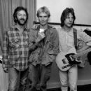 Eric Clapton, Sting and Jeff Beck hanging out backstage at the Secret Policeman's Other Ball in 1981