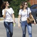 Mandy Moore and Minka Kelly out for some lemonade while wearing matching outfits in Los Angeles, California on September 4, 2014 - 454 x 580