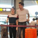 Martina Stoessel and Pepe Barros at the airport in Madrid