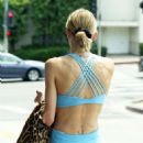 Jaime King in Blue Tights and Sports Bra – Out in Los Angeles