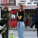 Josephine Skriver – Films a Maybelline commercial in New York City - 454 x 681
