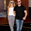 Still stunning even in her pajamas! Rosie Huntington-Whitely is flawless in baggy striped trousers as she speeds off with beau Jason Statham