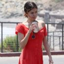 Selena Gomez in Red Long Dress out for a walk in Malibu - 454 x 680