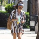 Sarah Hyland in Striped Shirt Dress – Leaving a Meditation Studio in Studio City