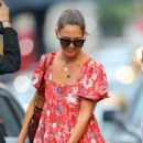 Katie Holmes in Red Print Dress – Out in New York