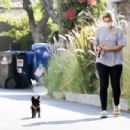 Bebe Rexha – Taking her dog for a walk in Hollywood