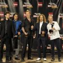 Metallica pose in the press room during the 24th Annual Rock and Roll Hall of Fame Induction Ceremony at Public Hall on April 4, 2009 in Cleveland