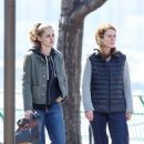 "Kristen Stewart and Julianne Moore on the set of ""Still Alice"" in New York City (March 14, 2014)"