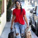 Kelly Rowland in Jeans and Red Shirt out in West Hollywood - 454 x 681