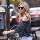 Sienna Miller in Denim Shorts out in New York - 454 x 678