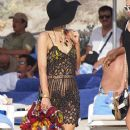 Paris Hilton and Brandon Davis spotted out on the beach while on vacation with friends in Formentera, Ibiza, Spain on July 7, 2012