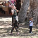 Gwen Stefani and her family are seen out and about on Sunday, August 23, 2015