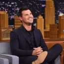 "Taylor Lautner stops by on ""The Tonight Show Starring Jimmy Fallon"" at NBC Studios on March 31, 2016 in New York City"