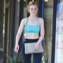 Elle Fanning in Tank Top Leaving the gym in Studio City - 454 x 756